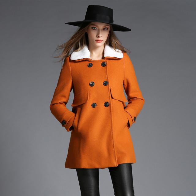 Манто Femme Ропа Mujer зима 2016 женская Зимняя Куртка Шерстяное Пальто Женский Ambs Меховым Воротником Двубортный Оранжевый Шерстяные пальто