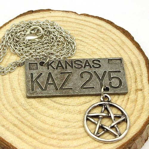 free shipping Movie Jewelry Supernatural Dean License Plate Pendant Necklace New Fashion Vintage Necklace For Everyone