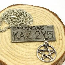 free shipping Movie Jewelry Supernatural Dean License Plate Pendant Necklace New Fashion Vintage Necklace For Everyone Wholesale