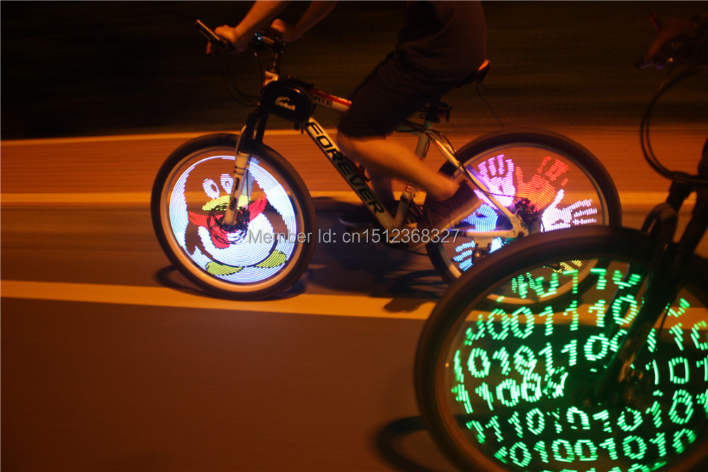 Fantastic DIY programmable bicycle bike valve lights tire wheel light with 128 cree LED double sided spoke screen display image(China (Mainland))