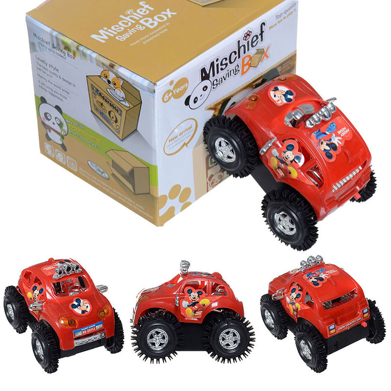 Free Shipping Red Funny Somersault Toy Truck Car Jeep Suv Moto Vehicle Micky Mouse Baby Child Electric Sand Type Cute Xmas Gift(China (Mainland))