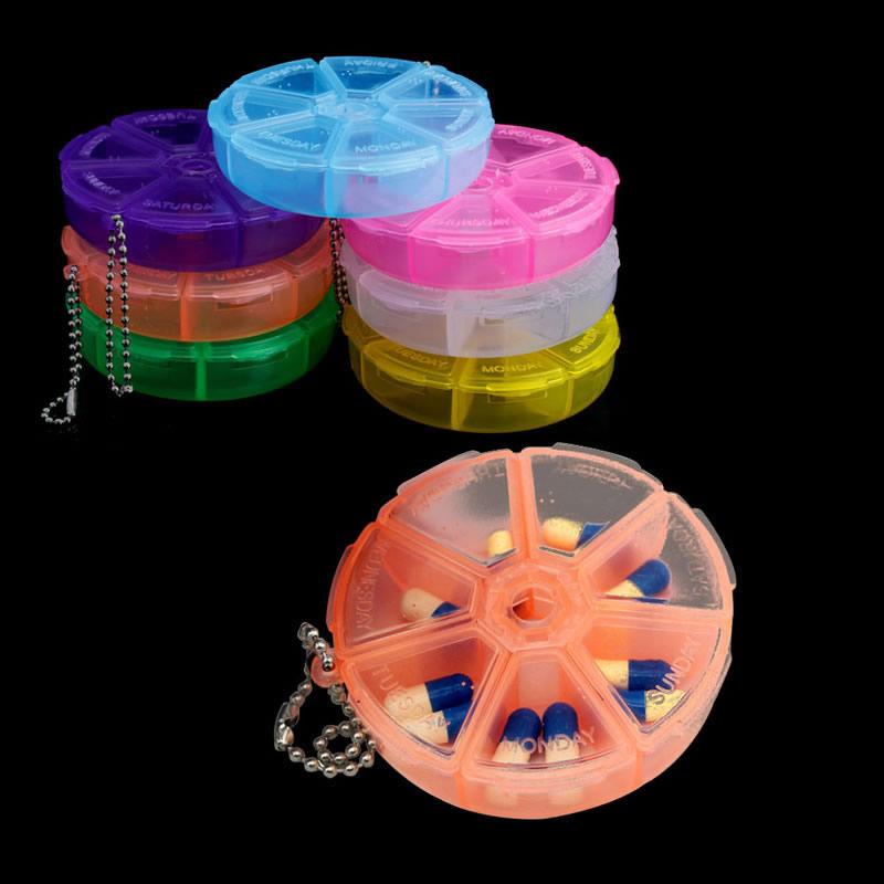 7 Days Weekly Pill Box Dispenser Organizer Container Round Holder Medicine Case(China (Mainland))
