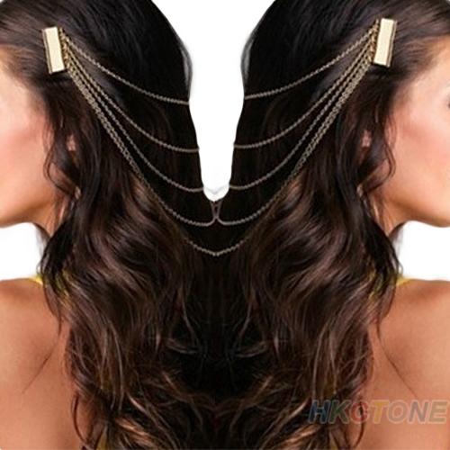 Fashion Golden Metal Long Tassel Chains Cuff Hair Head Combs Women Female Hairband Headwear Wholesale accessories 02BS(China (Mainland))