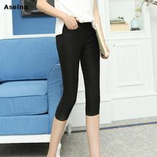 Aselnn Fashion Skinny Casual Pencil Capris Women Pants Elastic Waist Stretch Fitness Female Pocket Pants 2017 Plus Size(China (Mainland))
