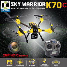 Free shipping!K70C 2.4GHz 4CH 6 Axis 3D Flips Headless 2MP 720P HD Camera RC Quadcopter Drone