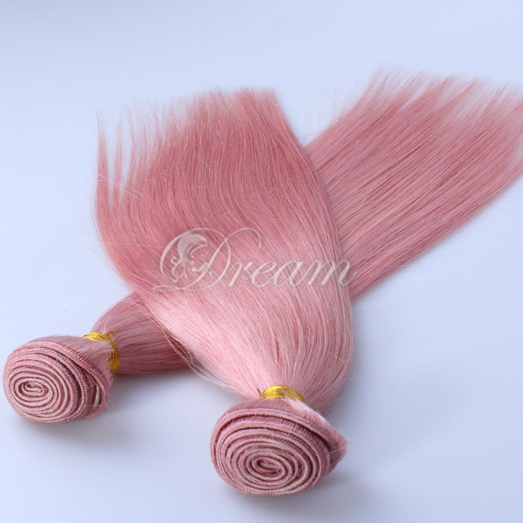 NEW !! Free Shipping !! Pink Color Brazilian Virgin Human Hair Weaves Straight 8inch -28 inch Good Quality Qingdao Factory Sale(China (Mainland))