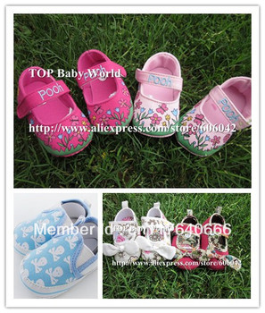 Free shipping 3 pairs/lot skull Toddler shoes Baby Shoes Girls Toddler Soft Sole rose flowers Baby Prewalker Shoes 3sizes