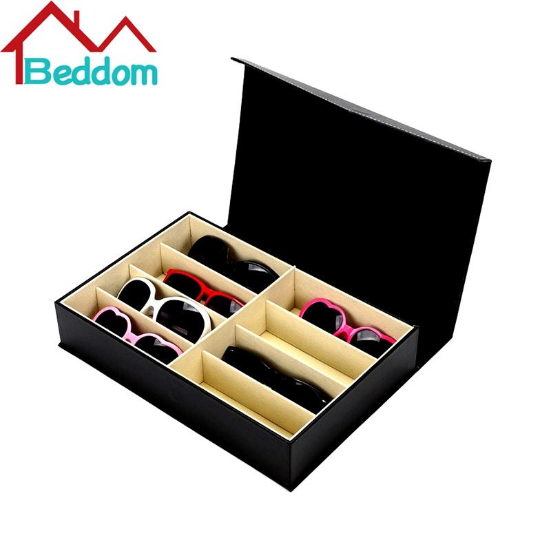 Beddom Sunglasses Box Black PU Leather 8 Slots Eyeglass Box Eyewear Organizer Display Case Box Collector Sunglasses Storage Box(China (Mainland))