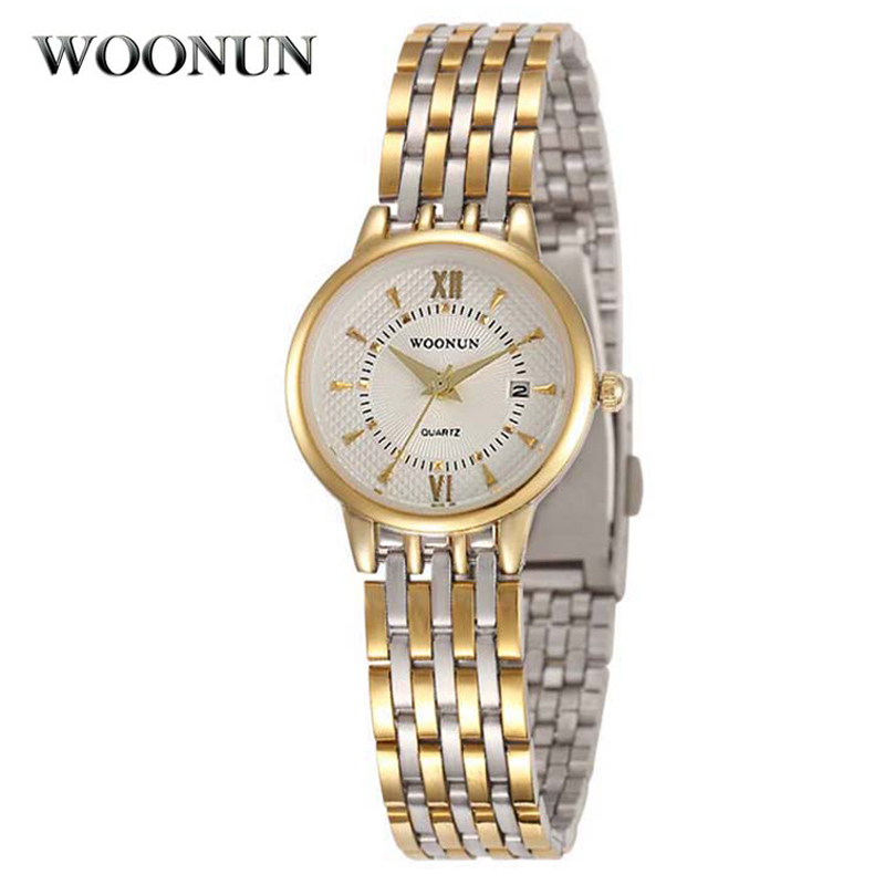 WOONUN Top Brand Luxury Gold Watch Women Full Steel Waterproof Shockproof Quartz-Watch Ladies Watches Thin Case Relogio Feminino - Evan Store store