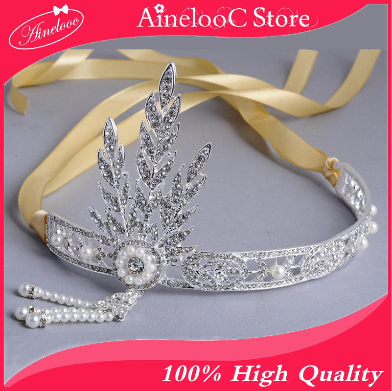 silver wedding bridal Pearl tiara and crowns, Great Gatsby DAISY Crystals Pearl Tassels Hair Hoop Headband, Hair jewelry(China (Mainland))