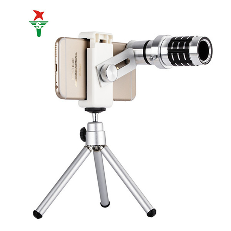 Hot Sale Universal 12X Telephoto Lens with Universal clamp three foot For iPhone Samsung and General cell Phone Accessory(China (Mainland))