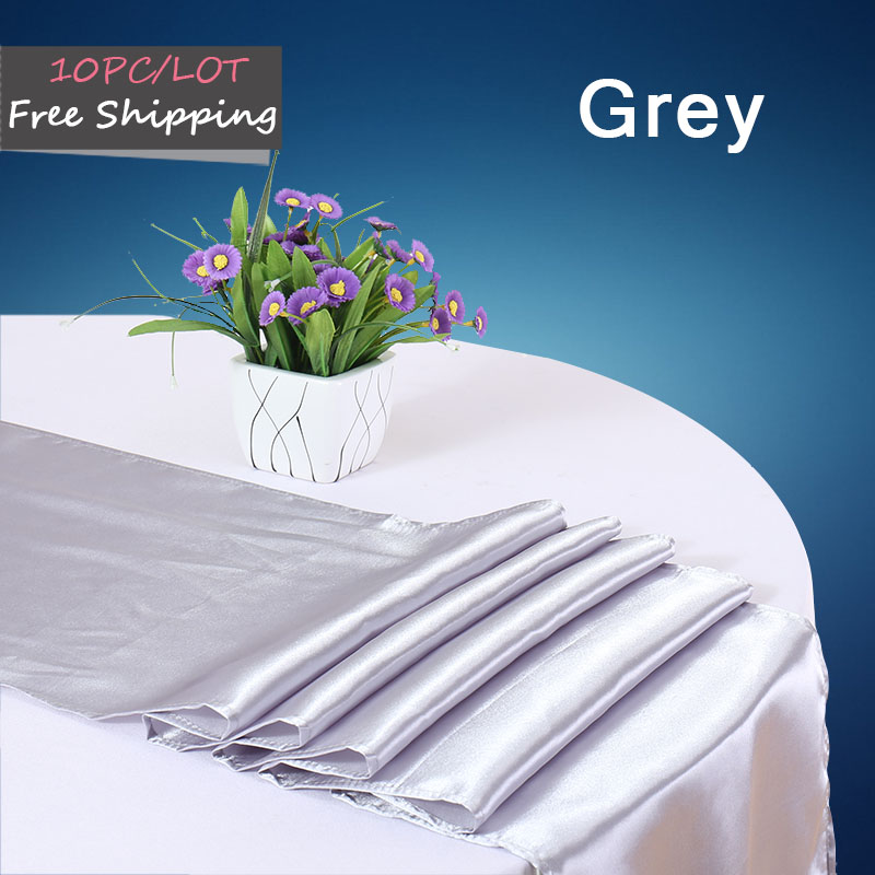 10PC Table Runners Satin Table Runner for Weddings Satin Ribbon Fabric Silver Vantage Table Cloth Runners Table Flag of Marriage(China (Mainland))