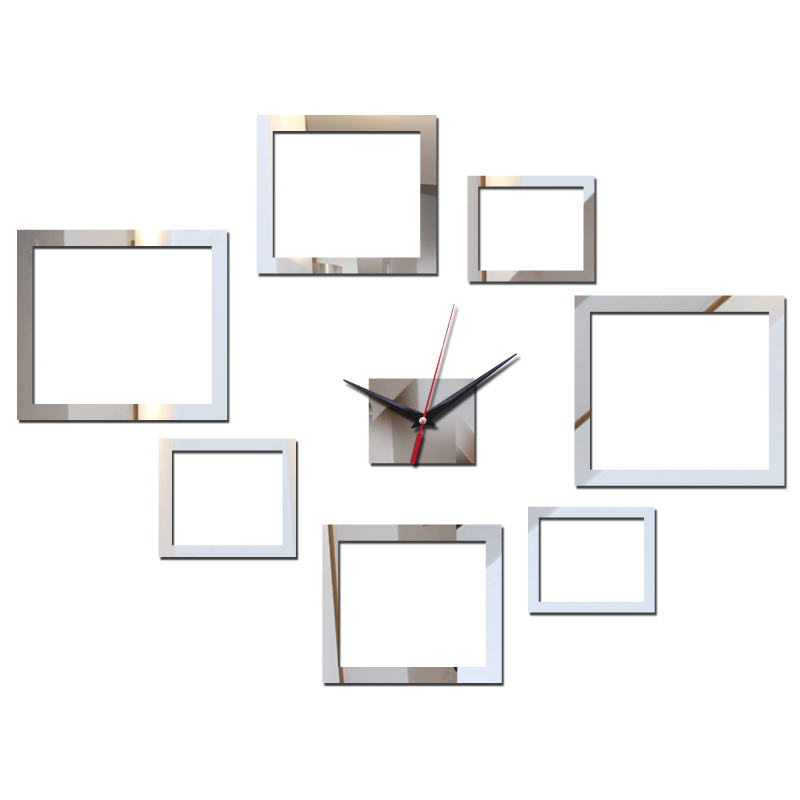 2016 new diy wall clock quartz watch large decorative acrylic clocks 3d sticker Living Room multi-piece set square design(China (Mainland))