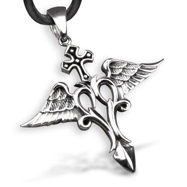 Bahamut Archangel Raphael Raffaele Cross Angel Necklace Pendant 925 Sterling Silver - Mall store