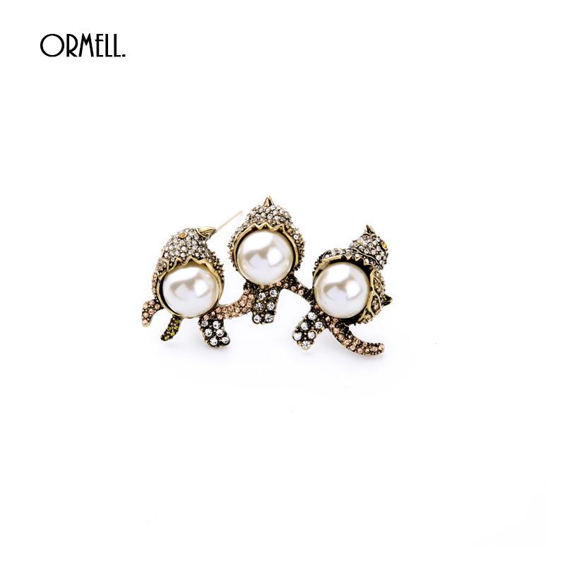 Vintage Three Bird Brooches Alloy Rhinestone Crystal Brooch Pin Garment Accessories For Women(China (Mainland))