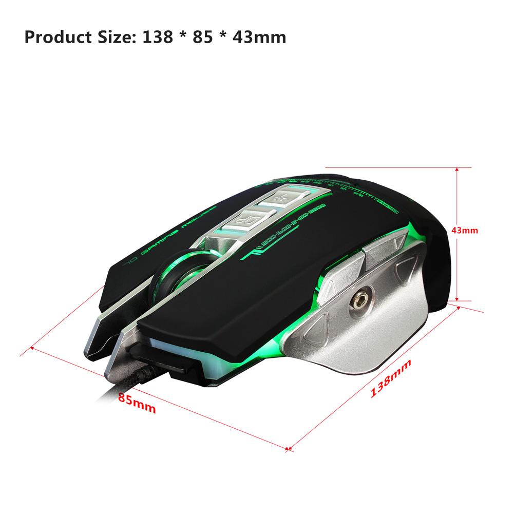 3200 DPI LED Optical USB Mechanical Wired Gaming Mouse Defined Macro Programming 7 Keys Adjustable Breathing Light