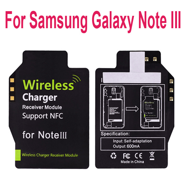Qi Standard Wireless Charging Charger Receiver adapter Support NFC for Samsung Galaxy Note III 3 N9000 N9005