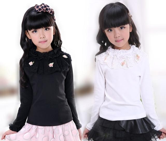 Весна Осень Мода дети девочек майка Девочка детские цветок С Длинным Рукавом футболка детские Топы одежда