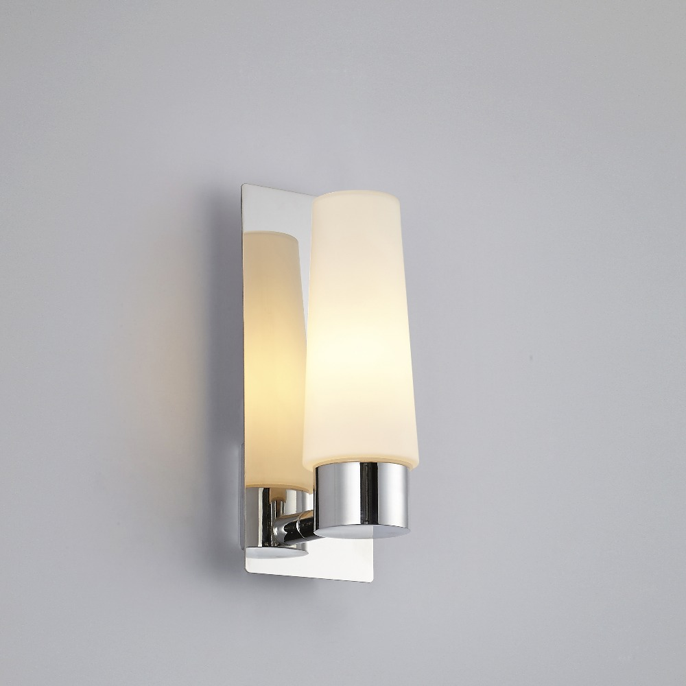Modern glass chrome art deco sconces bathroom bedroom for Contemporary bathroom wall sconces