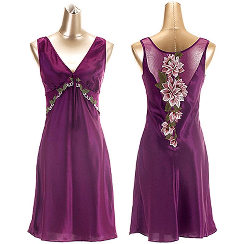 High Quality Fashion Summer Polyester Silk  Women's Lounge Sexy Back Plus Size XXL XXXL Lace Vest Nightgown Sleepwear Dress