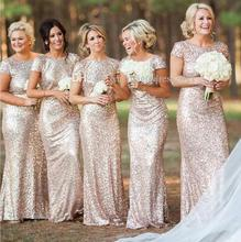 New 2016 Sheath Short Sleeves Open Back Champagne Squins Long Bridesmaid Dresses Cheap Under 50 Wedding Party Dresses(China (Mainland))
