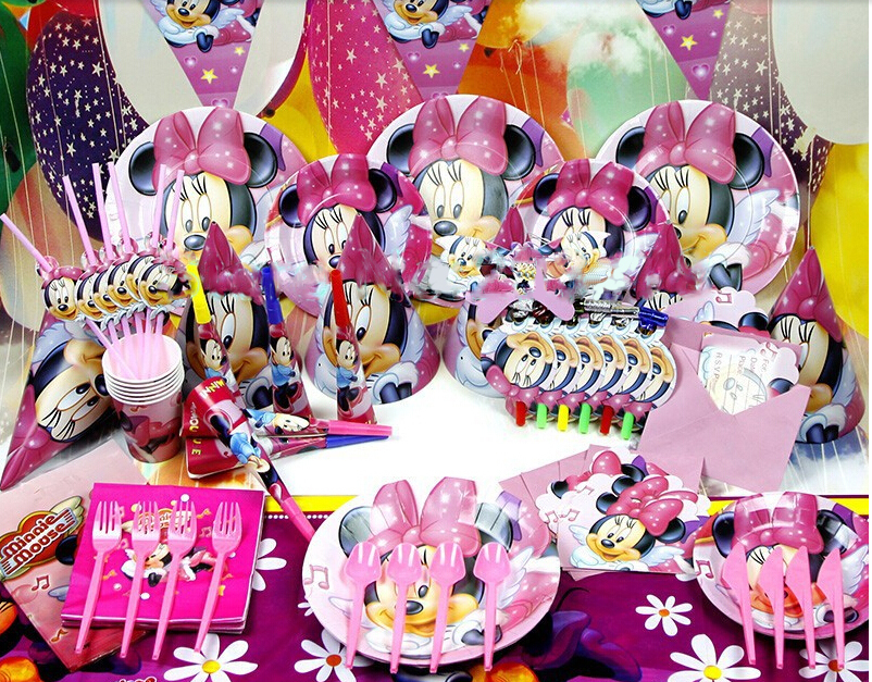 90pcs/2014 New Minnie Mouse Theme Party Luxury kids  birthday decoration plates cups straws napkins party supplie B003(China (Mainland))