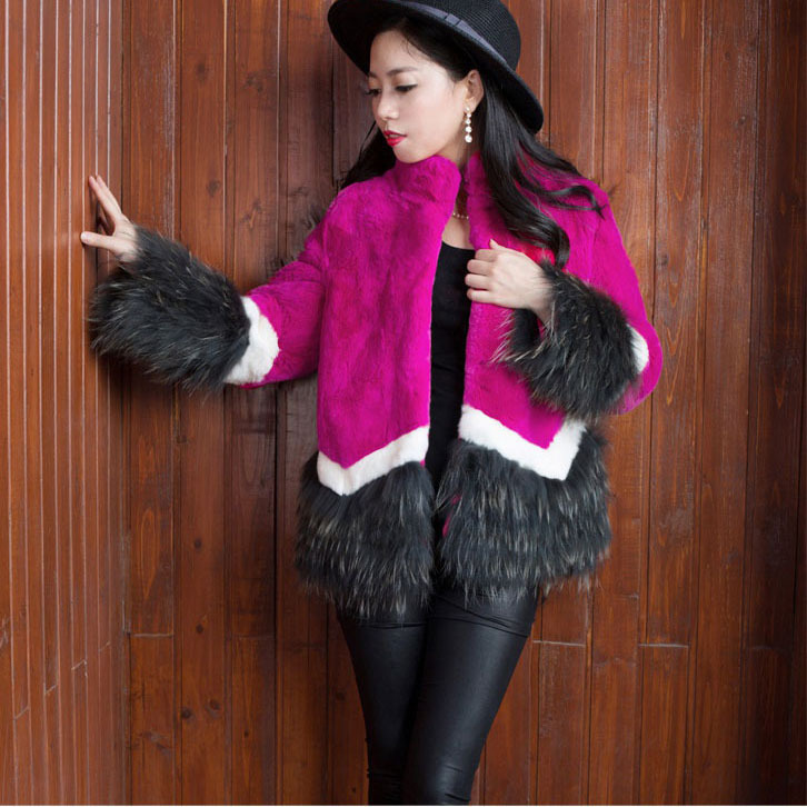 2016 fashion Lady Real women natural rabbit fur jacket raccoon sleeve short women's winter overcoat outerwear autumn jackets - Small Word store