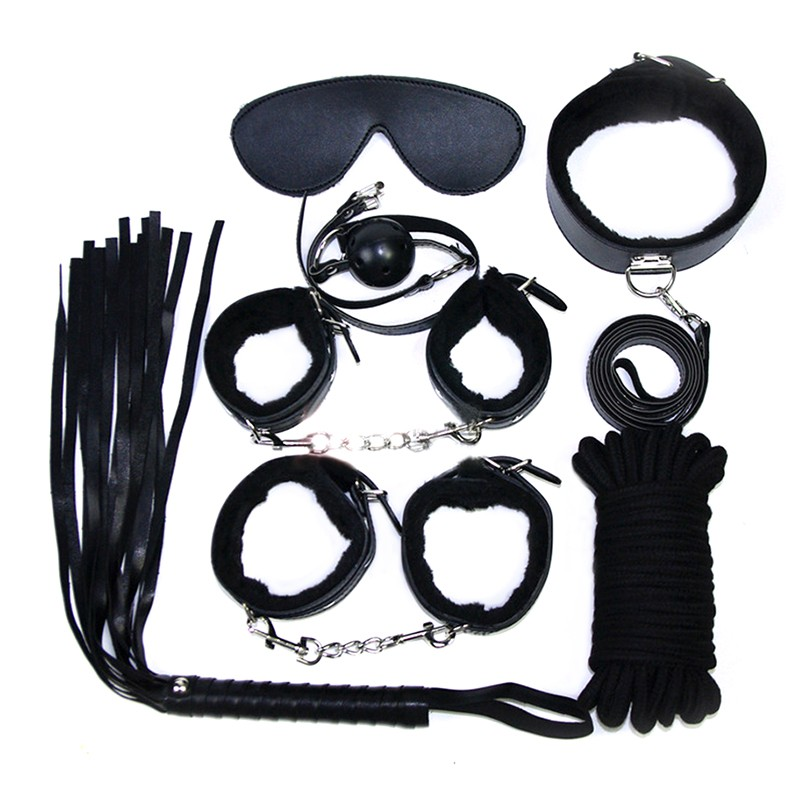 7pcs-leather-fantasias-sexy-erotic-adult-gameswholesale-fetish-sex-bondage-restraint-handcuffs-whip-collar-sex-toy-for-couple-adult-toys-store