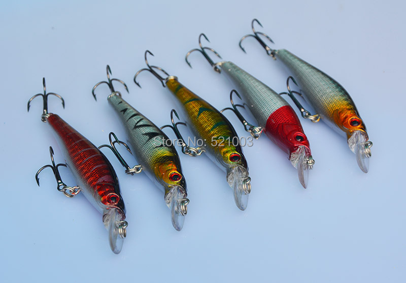 Super Price fishing tackle 3D eyes Minnow fishing lure 5pcs lot fishing bait Free shipping 8