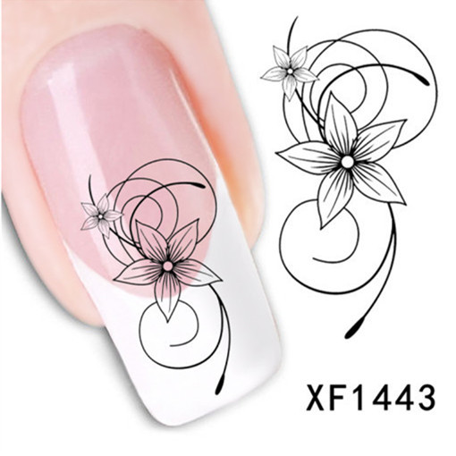 [T-XF1443]Hot Sale!! DIY Japanese Watermark Cute Black Flower Design Nail Art Sticker, Water Transfer Nail Decal Manicure Tools(China (Mainland))
