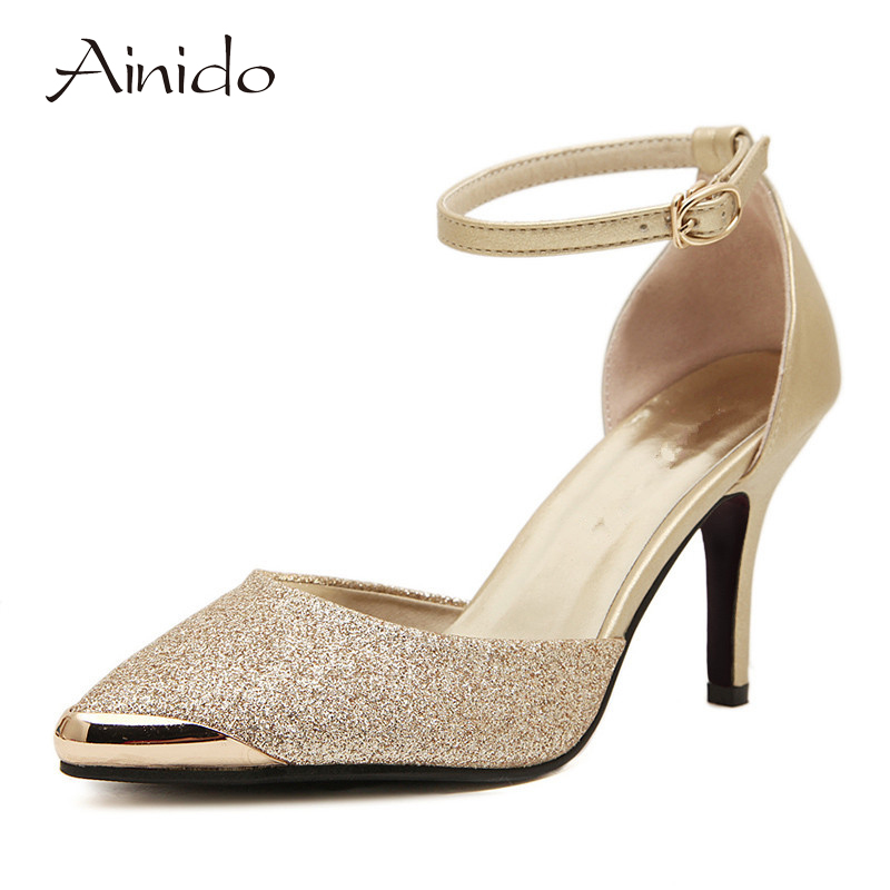 AINIDO Brand Shoes Woman High Heels Women Pumps Stiletto Thin Heel Women's Shoes Gold Blue Pointed Toe High Heels Wedding Shoes(China (Mainland))