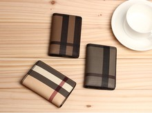 Fashion Classic Plaid Design Men ID Business Credit Card Holders US Europe Women Mini Leather Wallet Cover for Male Female