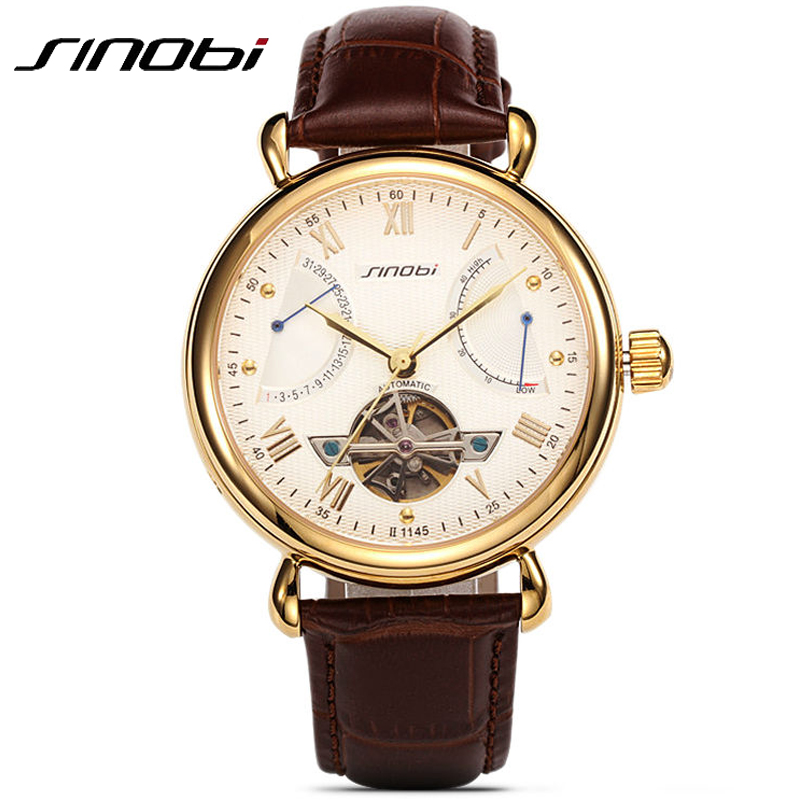 Mens Luxury Brand Watches Gold Stainless Steel Watch Skeleton Tourbillon Leather Mechanical Wristwatch Relojes Montre Homme<br><br>Aliexpress