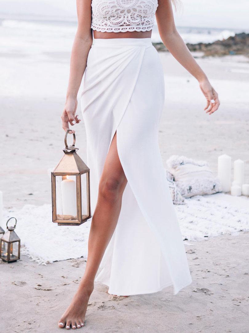 fashion choking 2015 new arrival white high waist slit