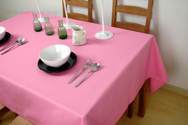 Free shipping, Hotel Restaurant square tablecloths, 140*180cm pink tablecloth,polyester/cotton,can be customized(China (Mainland))