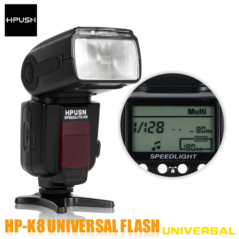 Hpusn HPK8 Flash Speedlite Manual Zoom 18mm -180mm LCD Screen Universal Compatible with Canon Nikon Pentax Olympus SLR cameras(China (Mainland))