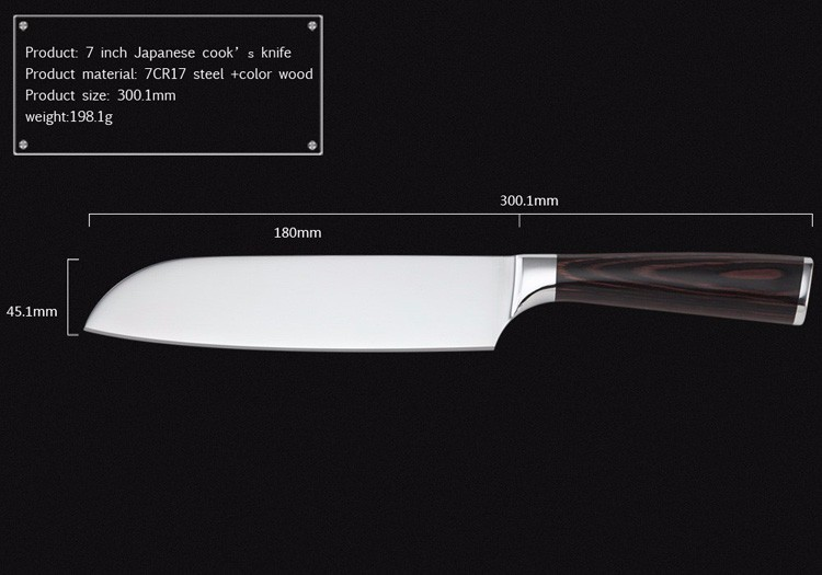 Buy LD 7Cr17 stainless steel 7 inch Japanese cook's knife practical kitchen knives with color wood handle 7 inch santoku knife. cheap