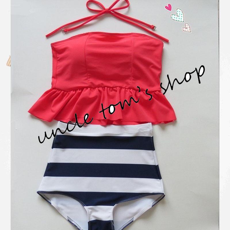 women's HIGH WAIST Swimsuits Vintage bathing suit Peplum Tankini bandeau crop top swimwear Halter Push moda praia - Uncle's shop store