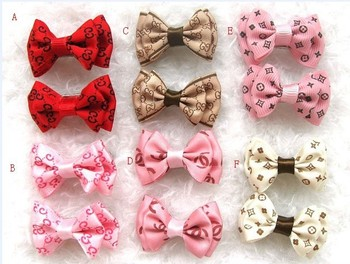 Free shipping,Wholesale 50pcs/lot brand double-deck pet bows,Ribbon Hair bow,dog barrette,pet clip mix design hiar bin