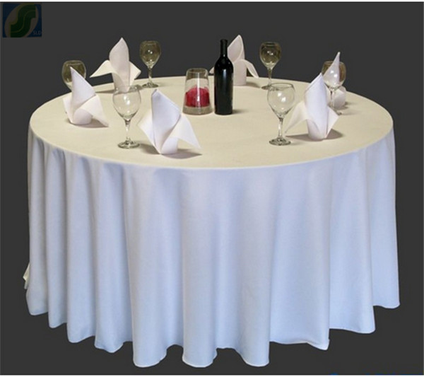 10pcs/lot free shipping wholesale tablecloths White 100% Polyester 108'' Round supplier from china(China (Mainland))