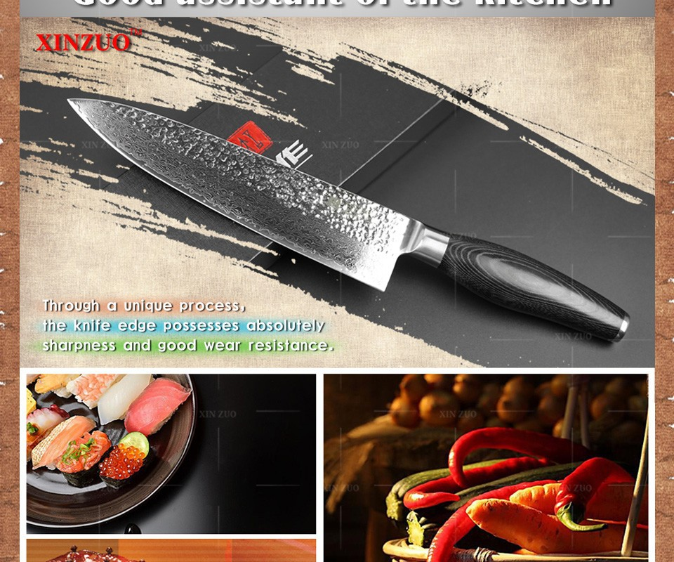 "Buy XINZUO 8"" inch chef knife Japanese Damascus kitchen knife woman chef knife Color wood handle high quality sharp free shipping cheap"