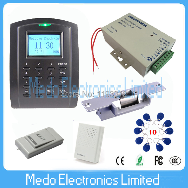 SC103 Rfid 125Khz EM Card  Access Control System Kit+ Strike Lock+ Power Supply Punch Card Access Controller Free Software<br><br>Aliexpress