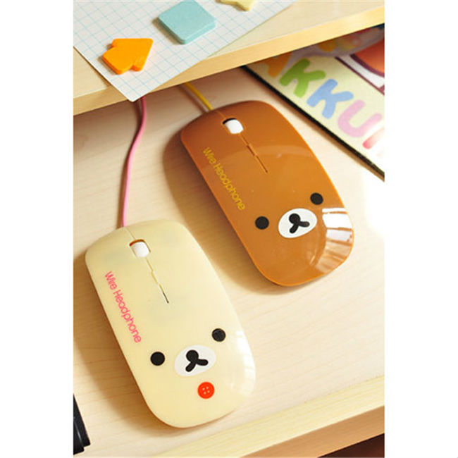 Free shipping cute little bear style ultrathin wired mouse for laptop computer usb mouse best gift for girl factory retail(China (Mainland))