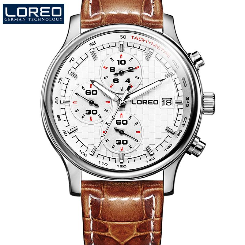 LOREO Germany watches men luxury brand watch men calendar multifunction leather sports fashion business quartz relogio masculino<br><br>Aliexpress