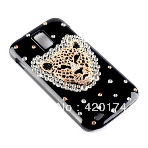 New Hot 3D Gold Leopard Head Crystal Bling Diamond Black Hard Back Case Cover for Samsung Galaxy S2 T989 Hercules T-Mobile