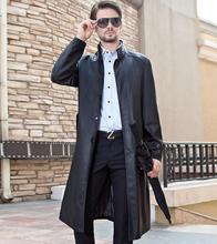 Free shipping black stand collar autumn leather jacket men long coat men's clothing business casual fashion plus size M - 3XL(China (Mainland))