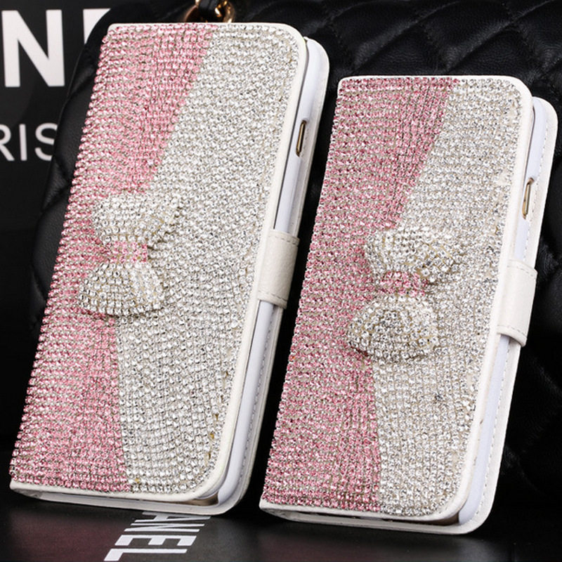 Bling bowknot Crystal Rhinestone Diamond stand Flip PU leather Back Case for For BlackBerry Classic Q20/Q10/Z30 with card slot(China (Mainland))