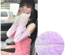 2015 Anti-UV  016 Thin lace anti-uv long fashion dot design Retail / Wholesales Women's sunscreen gloves sun-shading arm sleeve(China (Mainland))
