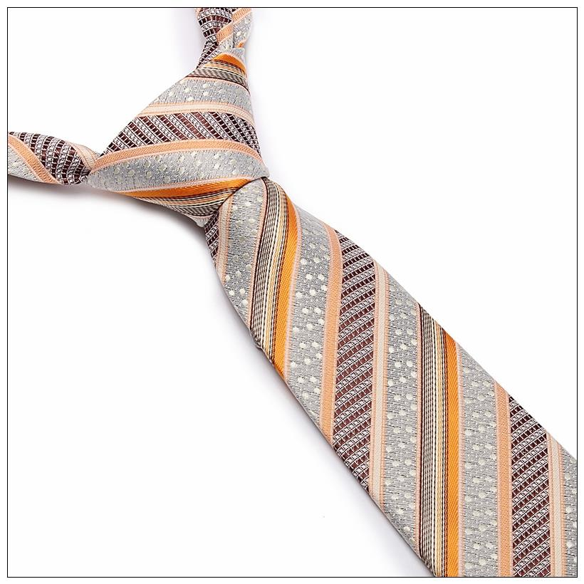 L10027-6 New Classic Striped tie men silk ties gravatas corbatas Gold Brown JACQUARD WOVEN 100% Silk Men's Tie Necktie - esther xu's store