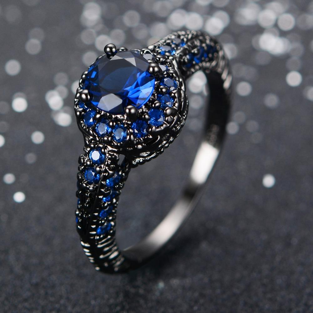 Aliexpress.com : Buy Fashion Blue Female Ring Wedding Band ...